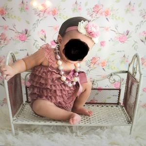 Other - Mauve color Lace Romper with matching headband